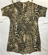Uncle Frank Leopard Animal Print Dress Size S Oversized Short Sleeves Brown