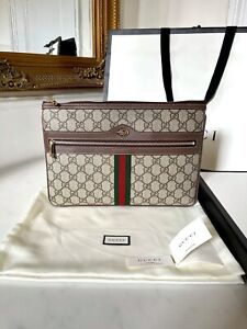100% AUTHENTIC Gucci GG Supreme Ophidia Brown Pouch Clutch Camera Handbag