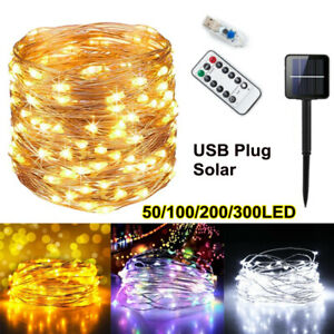 LED Solar/USB Micro Rice Wire Copper Fairy String Lights Garden Party In/Outdoor
