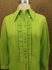Vtg 60s NEW NOS Bold Lime Green Textured Poly Knit Ruffled Front Tuxedo Blouse M