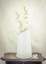 Enamel Pitcher water Jug white enamelware vase