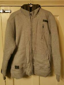 Genuine Next Mens Grey/Brown Hooded,Fur Lined,Zipped Jersey Jacket - Size XL