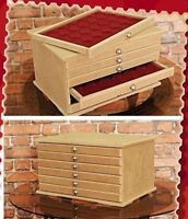 COIN Collection CABINET Drawers for 6 Trays Perfect for Coins Medals Numismatic