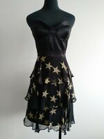 Wish Black Beige Stars Silk Tier Party Cocktail bustier Dress Strapless AU 10