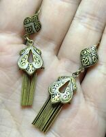 Vintage Estate Gold Tone Dangle Earrings Marked Spain Priced Ear Antique Piece