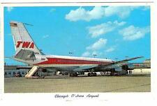 TWA Airplane Chicago O'Hare Airport Chicago, Illinois - Vintage Postcard