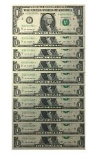 10 Consecutive Serial Number Uncirculated  $1 BILL STAR NOTES in 10-Page ALBUM