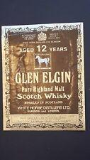 ETICHETTA WHISKY GLEN ELGIN  12  YEARS OLD