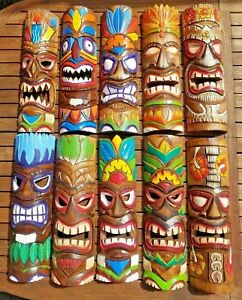 Tiki mask wood carving ~ Hand carved & painted wall hanging ornament 50cm long
