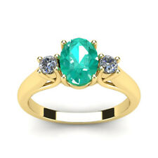 14K YELLOW GOLD 0.65CT OVAL EMERALD AND 2- DIAMOND RING, SZ-7, SAME DAY SHIPPING