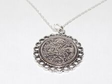 More details for fine pendant lucky sixpence birthday + 18in sterling silver chain 1953 - 1967