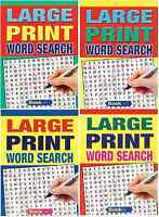 Set of 4 LARGE PRINT A4 SIZE 74 Page WORD SEARCH PUZZLE BOOKS series 3015