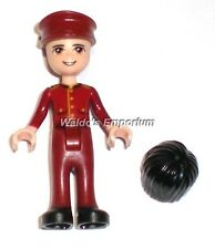 Lego Friends MiniFigure NATE with Red Hotel Boy Uniform & extra Hair 41101, New