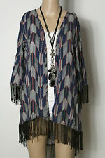 amisu Jacke Gr. S blau-lachs Ethno Indianer Muster Jacke/Blusenjacke