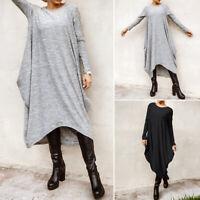 ZANZEA Damen O Neck Kleid Maxikleid Langarm Plain Oversize Casual Pulloverkleid