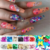 12 Grids 3D Holographic Nail Art Butterfly Glitter Sequins Flake Nail Tips Decor