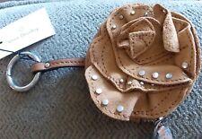 Vera Bradley Toasted Hazelnut Leather Rosy Outlook Bag Charm studded NWT