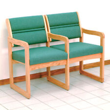 Wooden Mallet Valley Two Seat Chair w/Center Arms-Light Oak- DW1-2LOFG Chair NEW
