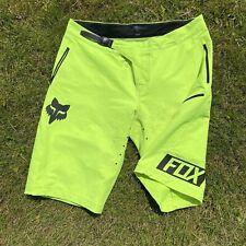 Mens FOX RACING DEMO FR MTB Enduro Downhill FreeRide Shorts Volt Yellow -Size 38