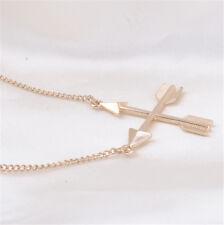 Women Fashion Popular Piercing Crossed X Arrow Pendant Rose gold Necklace !
