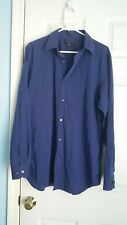 Banana Republic Slim Fit Mens Dark Blue Button Front Long Sleeve Shirt Sz 16-16