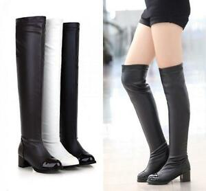 Women Over The Knee Thigh High Boots Sexy Low Heel Causal Patent Leather Shoes