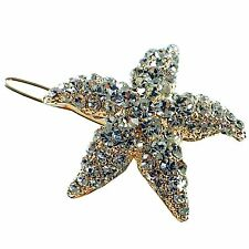 Hair Clip use Swarovski Crystal Hairpin Starfish Seastar Mermaid Gold Clear