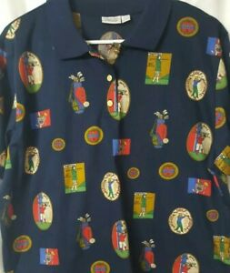 Tail Vintage Golf Print Polo Shirt - Women's XL
