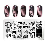 NICOLE DIARY Nail Stamping Plates Stainless Steel Rectangle Nail Art Stencil 091