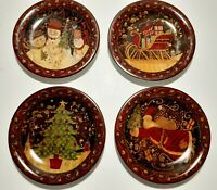 Set of 4 Susan Winget Certified International Santa Christmas Dessert Plates 8""