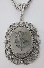 Vintage Reverse-Carved Hematite-Gray Glass Lily Pendant Necklace Whiting & Davis