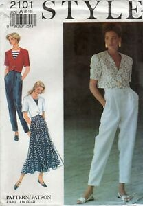 Style Sewing Pattern 2101 Jacket, High Waist Skirt & Trousers, Vintage Size 6-16