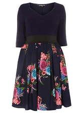 Kleid Gr.50 Midikleid Sommerkleid Stretchkleid Blüten blau Plus Size Scarlett&Jo