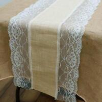 "LACE BURLAP TABLE RUNNER 14x108"" Rustic Natural Country Wedding Party Catering"