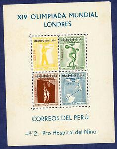 Peru C81a Melbourne Olympics Souvenir Sheet with Overprint MNH