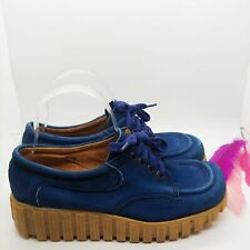 Size 7 I Famolare Tekahike 70's Style Platform Loafers Blue Leather