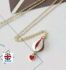 UK White and Red Hot Air Balloon Travellers Dream with Heart Necklace