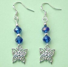 New Pair Butterfly Earrings Blue Crystal Beads Sterling Silver Hooks LB166