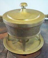 """Large Brass & Silverplate Chaffing Pan Vintage 10"""" diameter"""