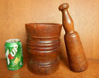 19th Century Apothecary Black Walnut Mortar Pestle Early Antique American