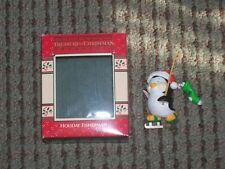 Enesco Treasury of Christmas Ornament Holiday Fisherman Penguin Fishing on Skate