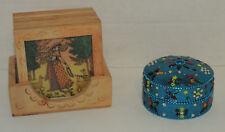 Moroccan Imported Boho Coasters 6 Hand Carved Wood & Painted Glass & Jeweled Box