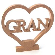 Gran In Heart Shape With Stand Birthday Gift 200mm 20cm High