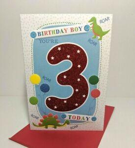 Age 3 Birthday Card - Boy Boys Dinosaur  Modern Red Bold Glitter Boy 3rd