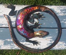 La Lagartija en Circulo Salamander Metal Handmade Painted Art Mexican 12x13 431
