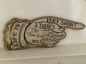 Wood Wall Art - Pointing Finger - Life Is Very Short Quote from Beatles Song
