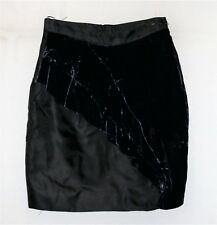 NICOLA FINETTI Brand Black Blue Silk Velvet Skirt Size 8 NEW #SB39