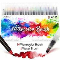 Brush Pens Set - 24+1 Watercolour Brush Pens with Soft and Flexible Nylon Tip