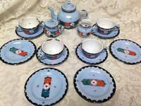 Antique,  Germany,  17-pc Blue Floral Child's Tea Set