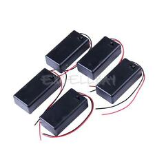 5PCS DC 9V Battery Holder Box Case With Wire Lead Cover ON/OFF Switch  E0Xc
